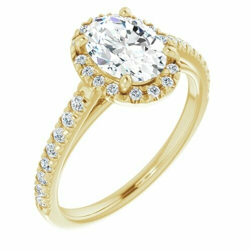 14K Yellow Oval 1 ct French Set Engagement Ring