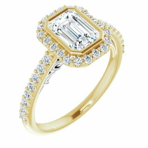 14K Yellow/White Emerald 1 1/4 ct Engagement Ring