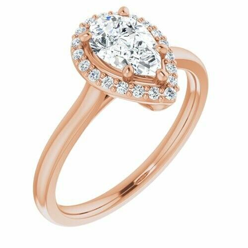 14K Rose Pear 9/10 ct Engagement Ring