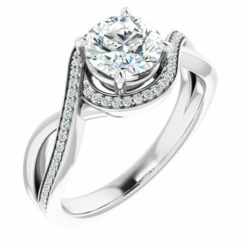 14K White Round 1 ct Bypass Halo-Style Engagement Ring
