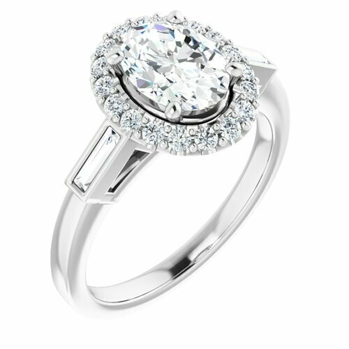14K White Oval 1 ct Engagement Ring