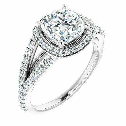 14K White Cushion 2 ct Engagement Ring