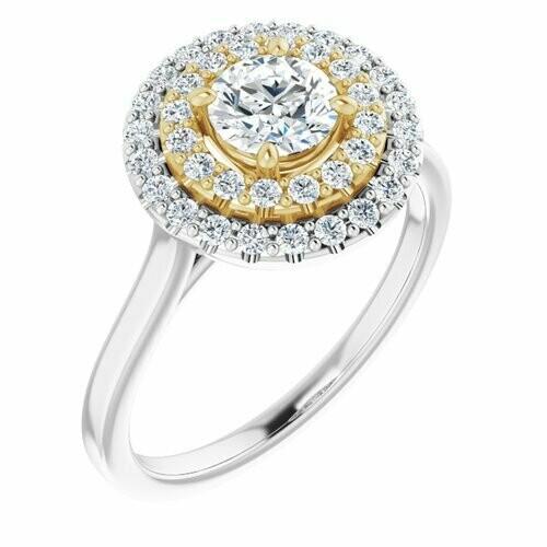 14K White/Yellow Round 1/2 ct Engagement Ring