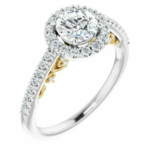 14K White/Yellow Round 3/4 ct Engagement Ring