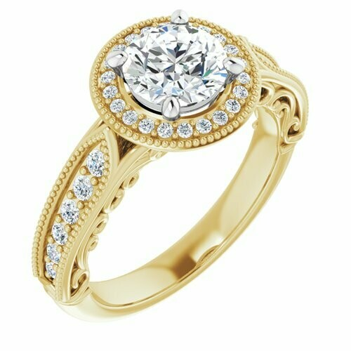 14K Yellow/White Round 1 ct Vintage-Inspired Halo-Style Engagement Ring