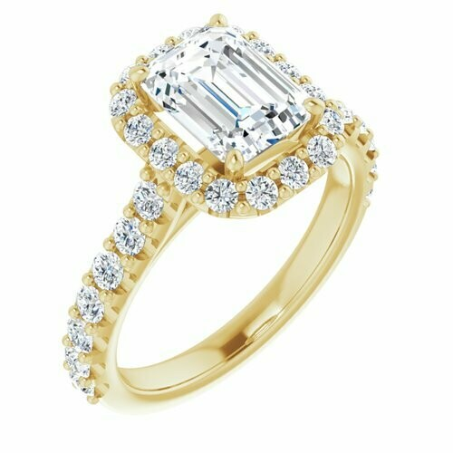 14K Yellow Emerald 1 3/4 ct Engagement Ring