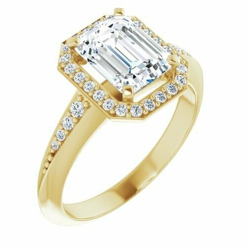 14K Yellow Emerald 1 3/4 ct Knife Edge Halo-Style Engagement Ring