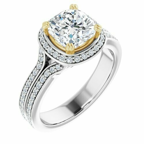 14K White/Yellow Cushion 2 ct Engagement Ring