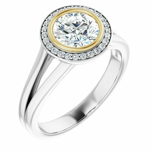 14K White/Yellow Round 1 ct Bezel-Set Halo-Style Engagement Ring