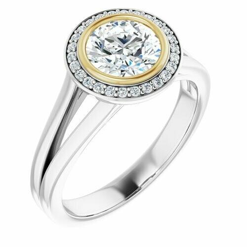 14K White/Yellow Round 1 ct Bezel-Set Halo-Style Engagement Ring