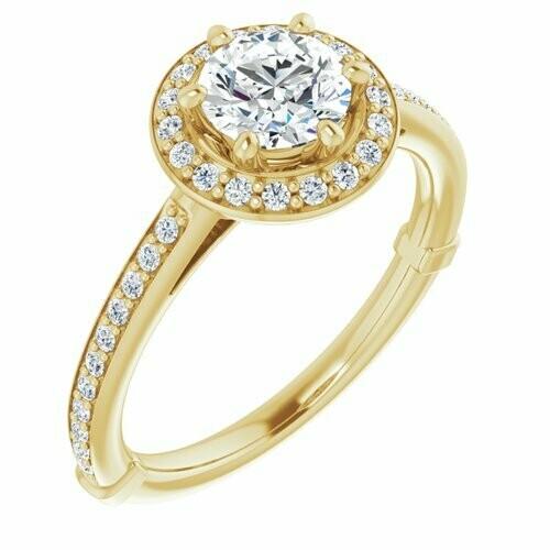 14K Yellow Round 3/4 ct Engagement Ring