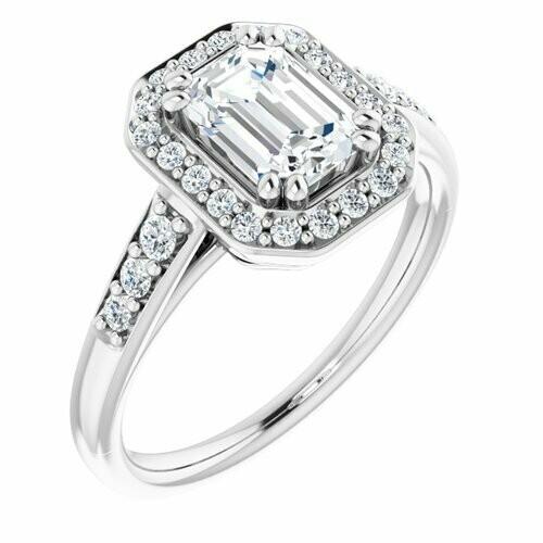 14K White Emerald 1 1/4 ct Engagement Ring