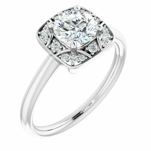14K White Round 3/4 ct Vintage-Inspired Halo-Style Engagement Ring