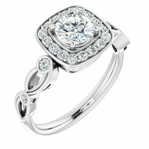 14K White Round 5/8 ct Engagement Ring