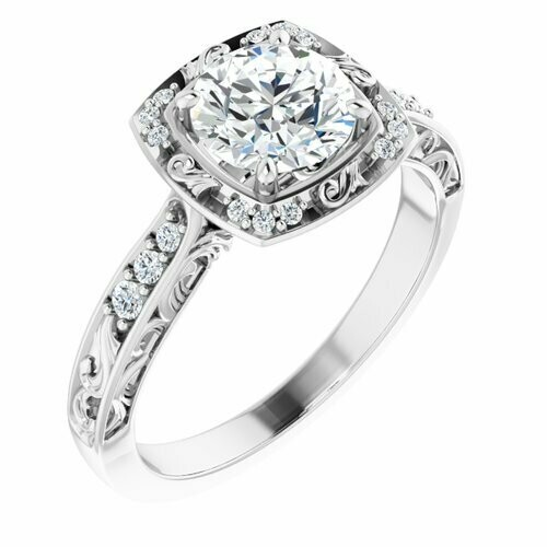 14K White Round 1 ct Halo-Style Engagement Ring