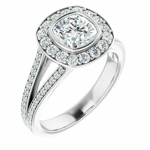 14K White Cushion 1 1/4 ct Bezel-Set Halo-Style Engagement Ring