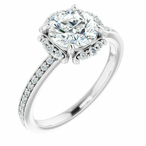 14K White Round 1 1/4 ct Accented Halo-Style Engagement Ring