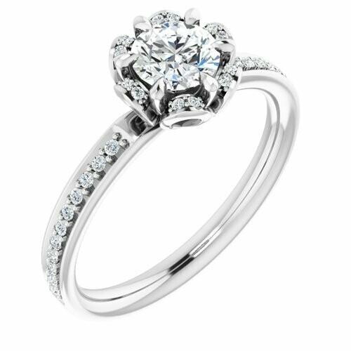 14K White Round 1/2 ct Engagement Ring