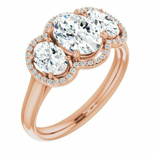14K Rose Oval 1 ct RING MOUNTING FOR GEMSTONE