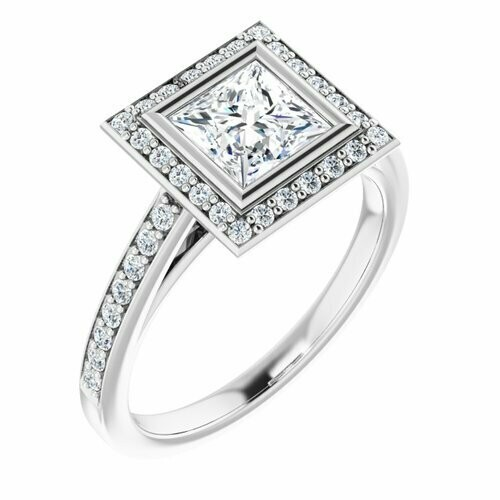 14K White Square 1 ct Bezel-Set Halo-Style Engagement Ring