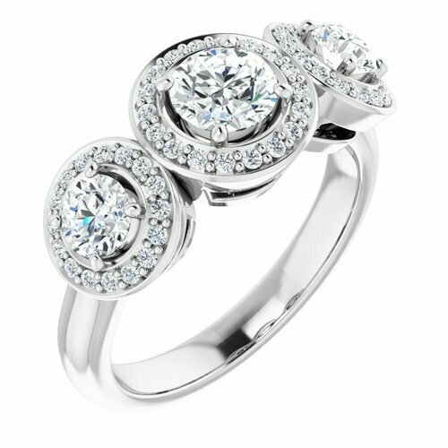 14K White Round 1/2 ct Three-Stone Halo-Style Engagement Ring