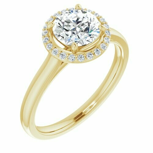14K Yellow Round 1 ct Engagement Ring