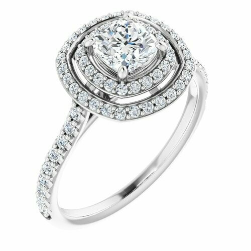 14K White Cushion 5/8 ct Engagement Ring