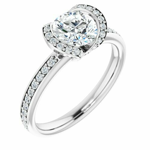 14K White Round 1 ct Bezel-Set Halo-Style Engagement Ring