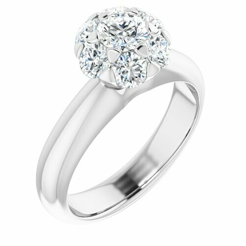 14K White Round 1/3 ct Engagement Ring