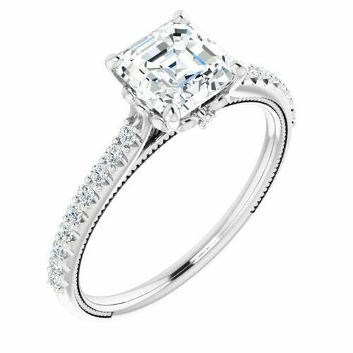 14K White Asscher 1 1/4 ct Engagement Ring