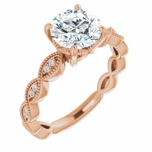 14K Rose Round 1 1/2 ct Engagement Ring