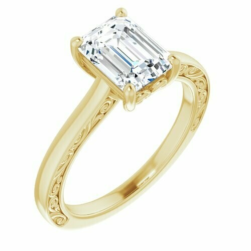 14K Yellow Emerald 1 3/4 ct Engagement Ring