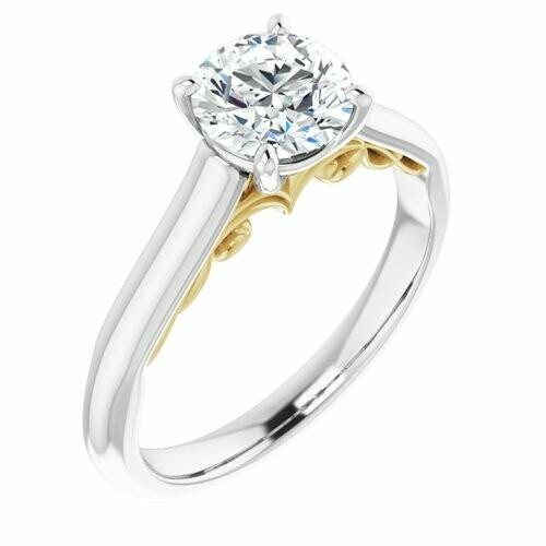 14K White/Yellow Round 1 ct Engagement Ring