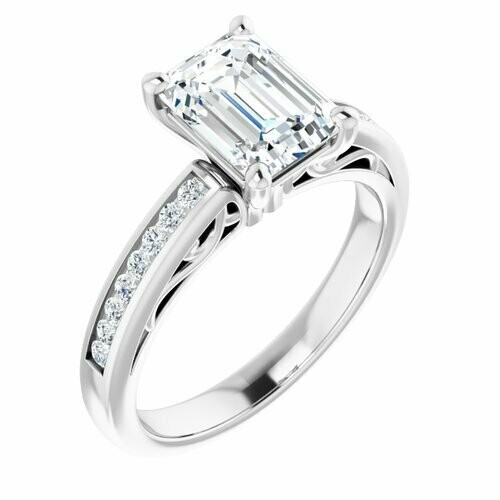 14K White Emerald 1 3/4 ct Engagement Ring