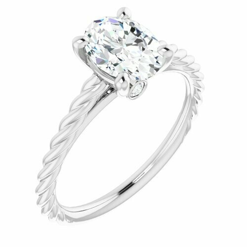 4K White Oval 1 ct Engagement Ring