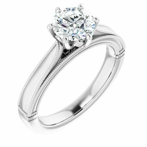 14K White Round 1 ct Engagement Ring