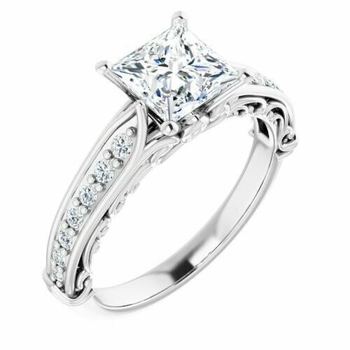 14K White Square 1 1/4 ct Engagement Ring