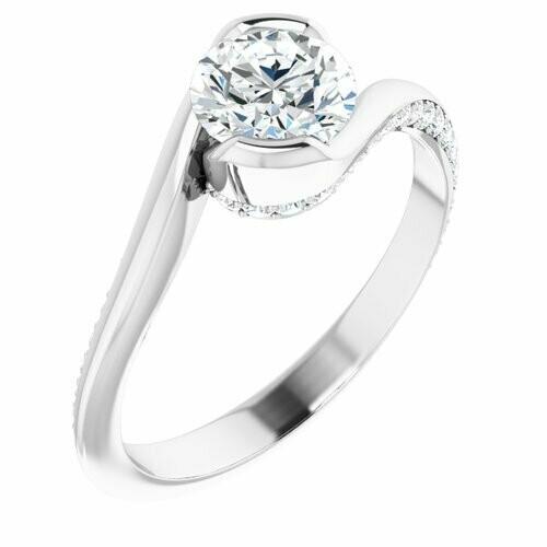 14K White Round 3/4 ct Engagement Ring