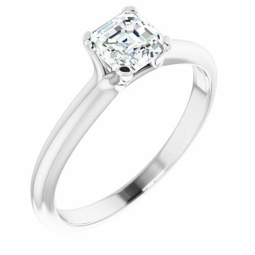 14K White Asscher 3/4 ct Engagement Ring