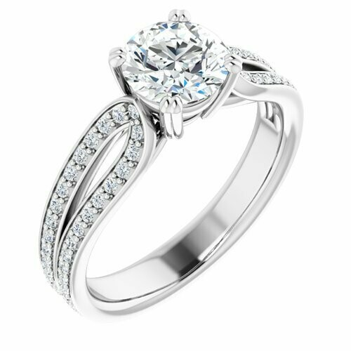 14K White Round 1 ct Engagement Ring