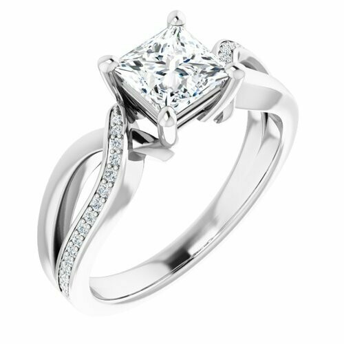 14K White Square 1 ct Engagement Ring