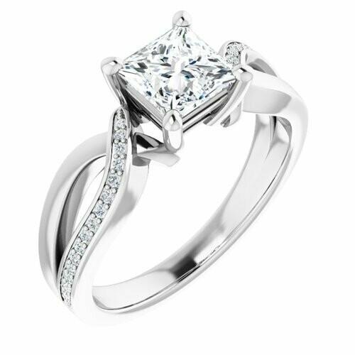 14K White Square 1 ct Engagement Ring