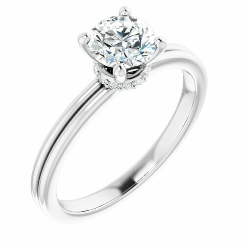 14K White Round 3/4 ct Engagement Ring
