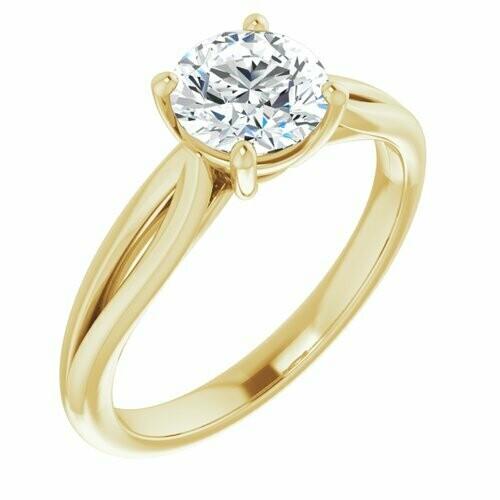 14K Yellow Round 1 ct Engagement Ring