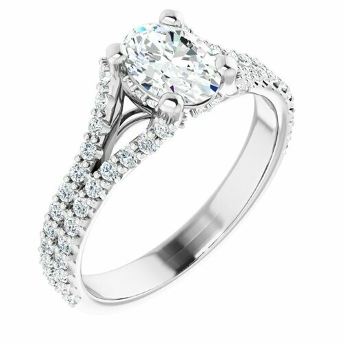 14K White Oval 3/4 ct Engagement Ring