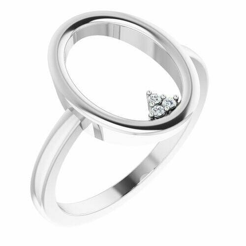 14K White .01 CTW Diamond Open Circle Cluster Ring