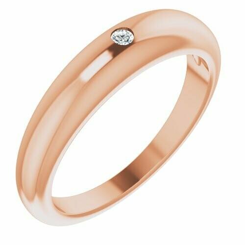 14K Rose .03 CT Diamond Petite Dome Ring