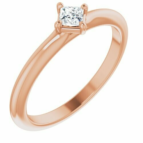 14K Rose 1/6 CTW Diamond Solitaire Ring
