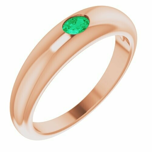 14K Rose Emerald Petite Dome Ring