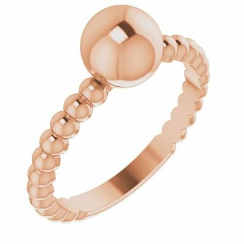 14K Rose Metal Ball Ring